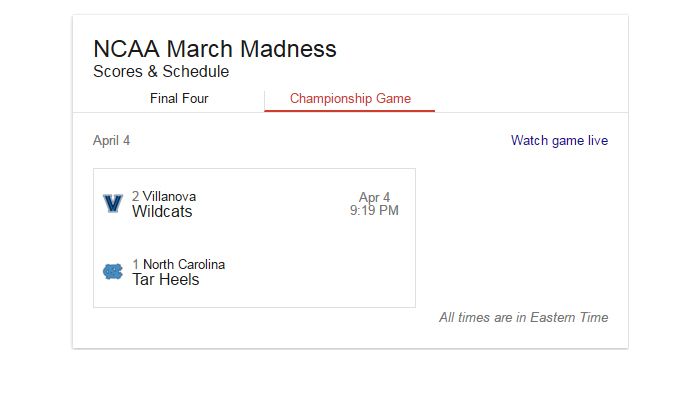 NCAA The Championship: North Carolina vs. Villanova