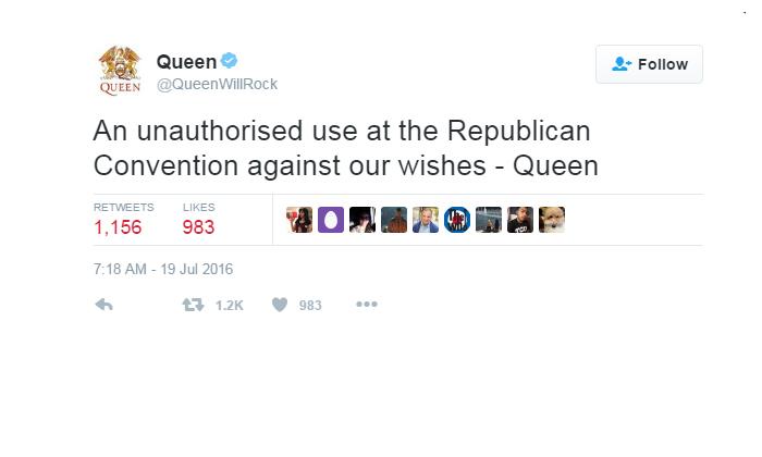 """Queen: """"We Will Rock You"""" Not Happy With GOP"""